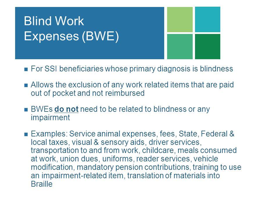 Blind Work Expenses (BWE)