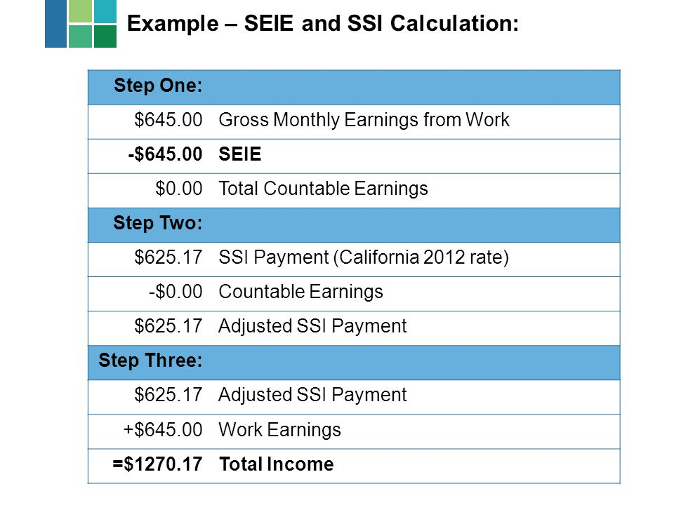 Example – SEIE and SSI Calculation: