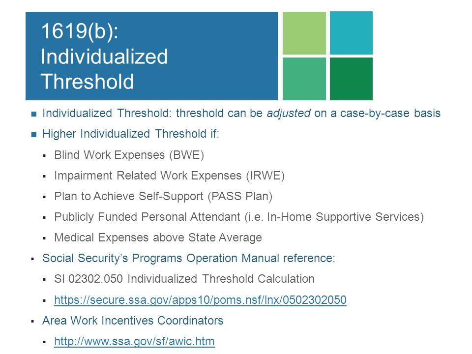 1619(b): Individualized Threshold