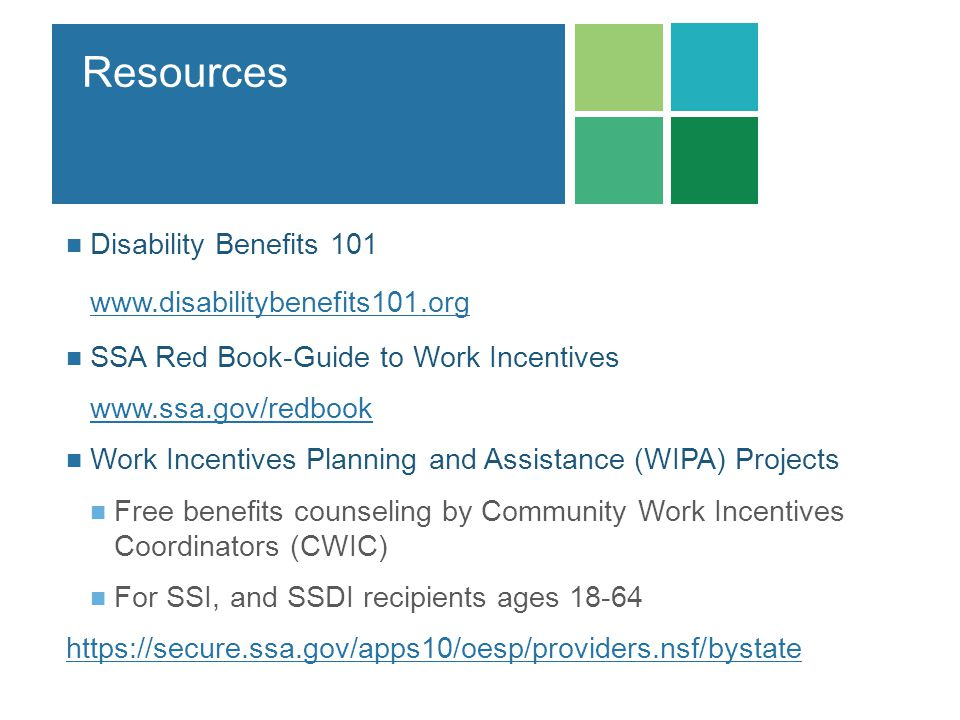 Resources Disability Benefits 101 www.disabilitybenefits101.org