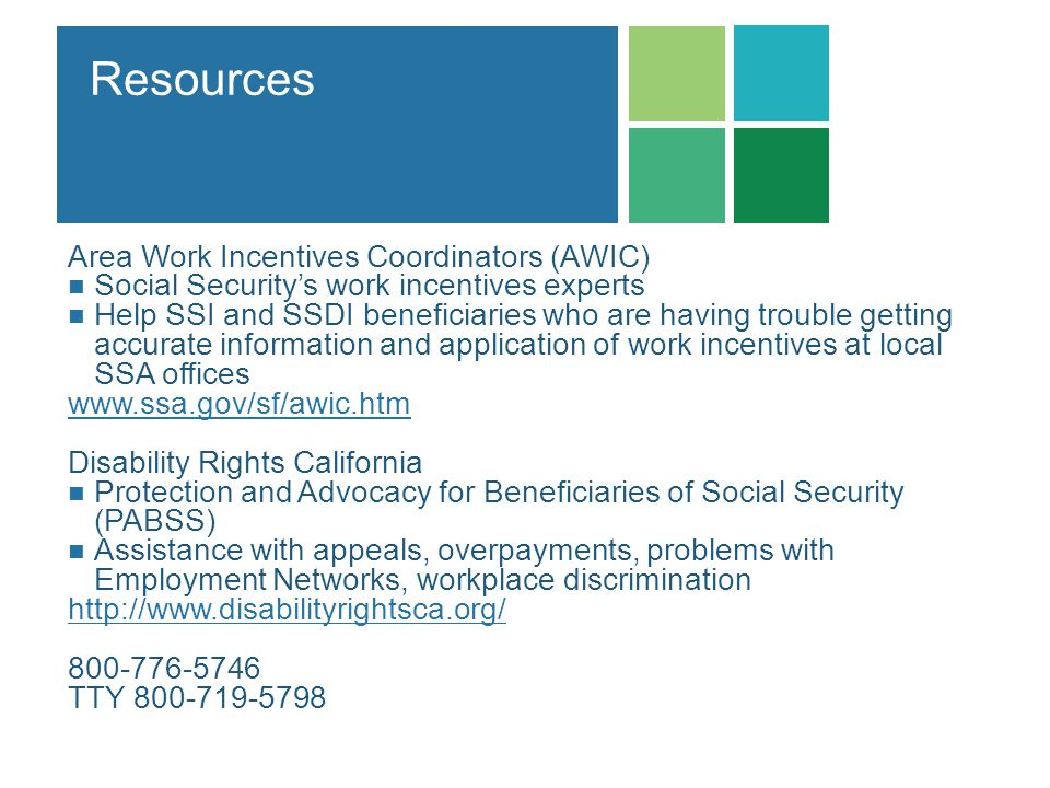 Resources Area Work Incentives Coordinators (AWIC)