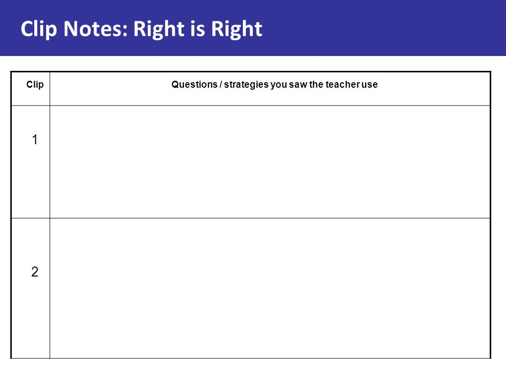 Clip Notes: Right is Right