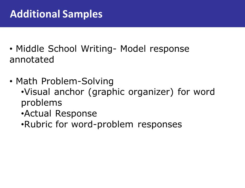 Additional Samples Middle School Writing- Model response annotated