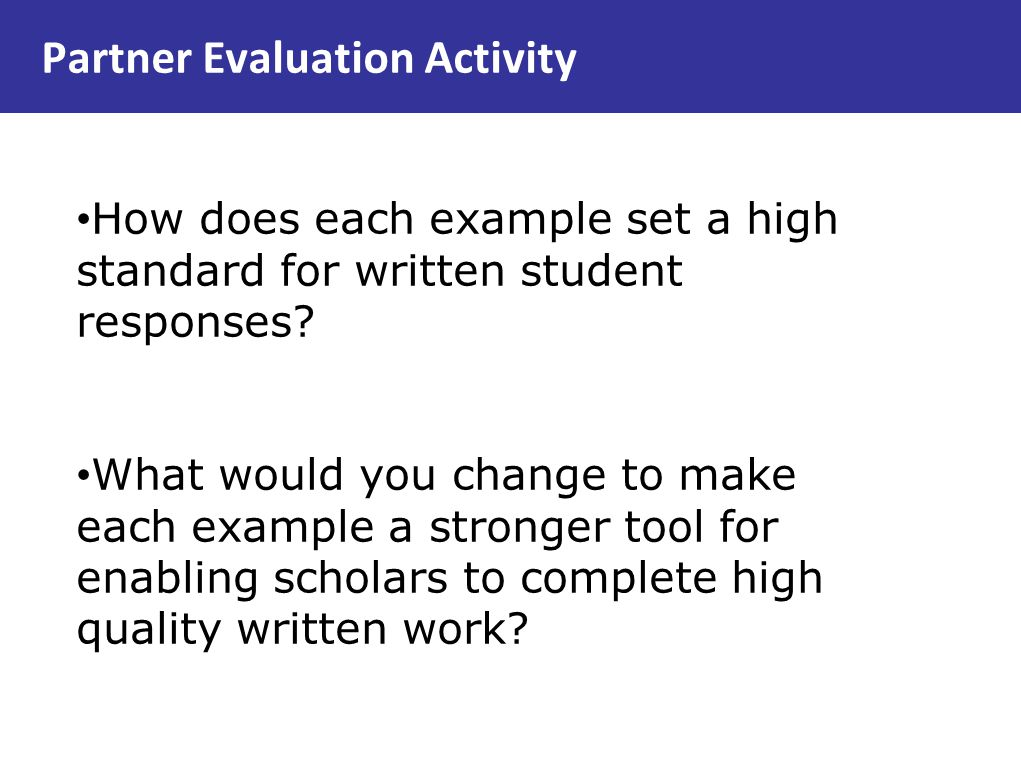 Partner Evaluation Activity
