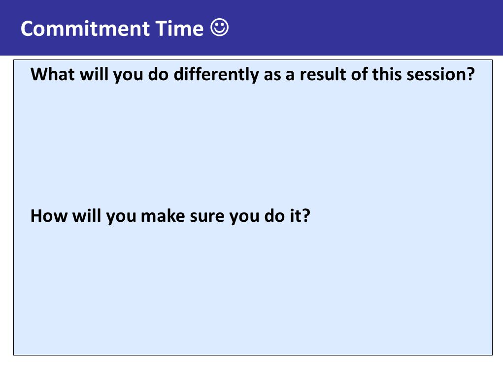 Commitment Time  What will you do differently as a result of this session.