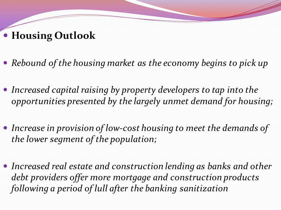 Housing Outlook Rebound of the housing market as the economy begins to pick up.