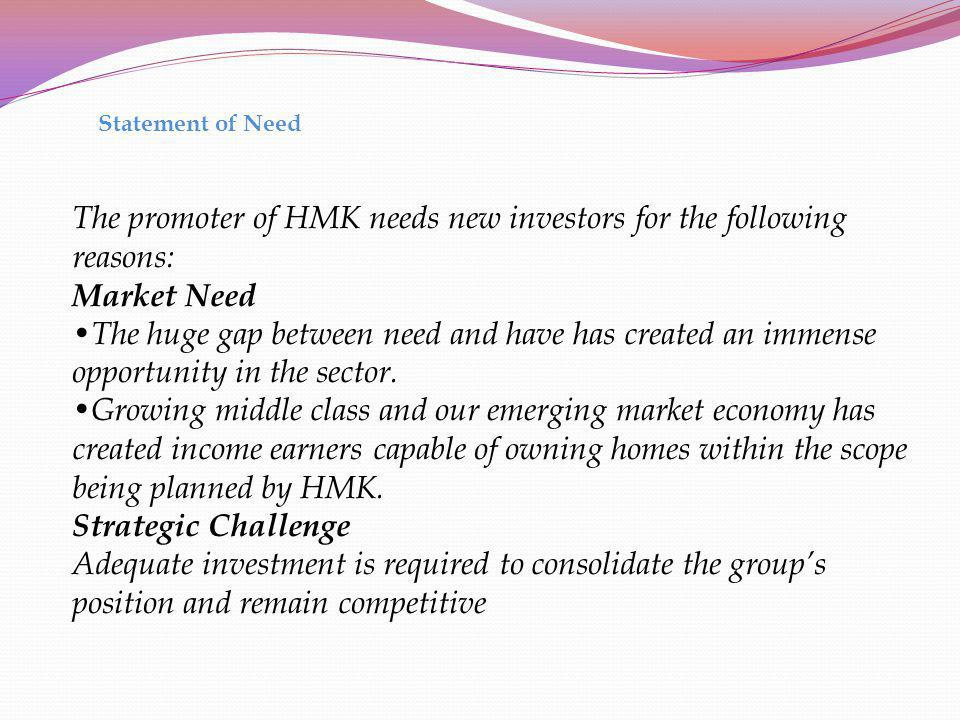 The promoter of HMK needs new investors for the following reasons: