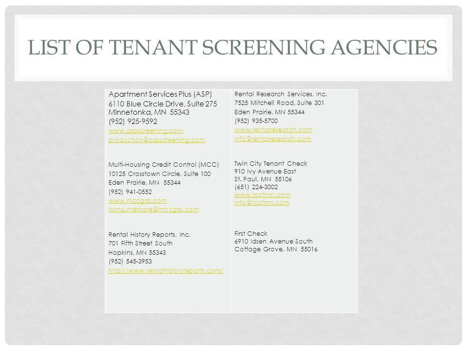List of tenant screening agencies