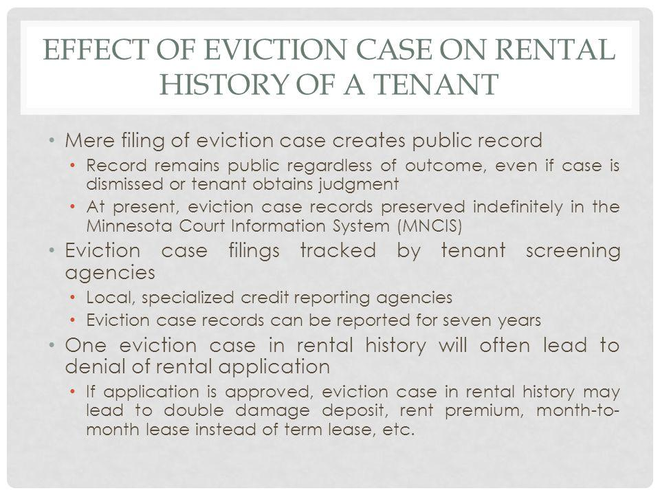 Effect of eviction case on rental history of a tenant