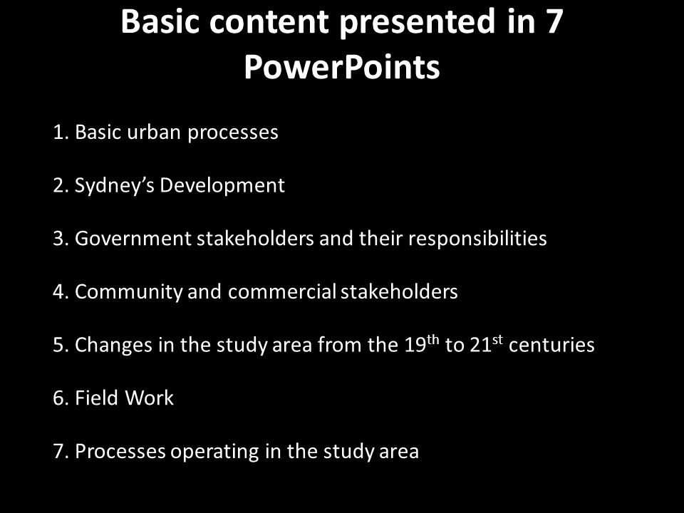 Basic content presented in 7 PowerPoints