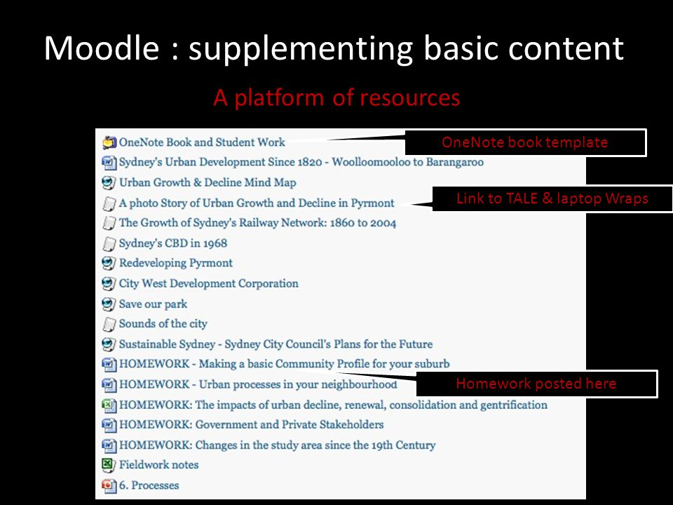Moodle : supplementing basic content