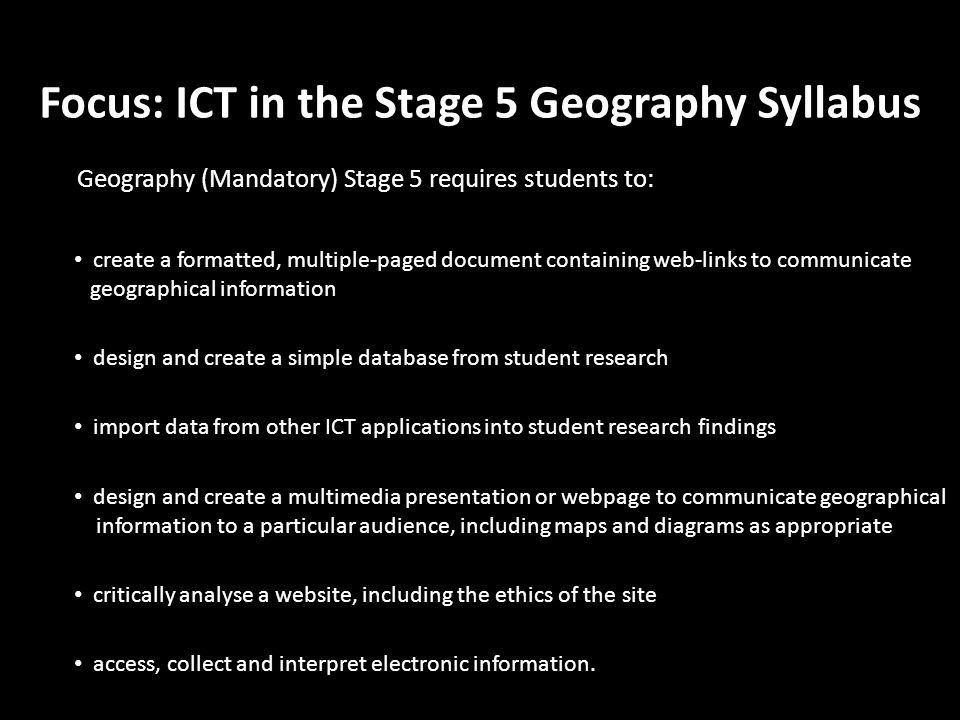 Focus: ICT in the Stage 5 Geography Syllabus