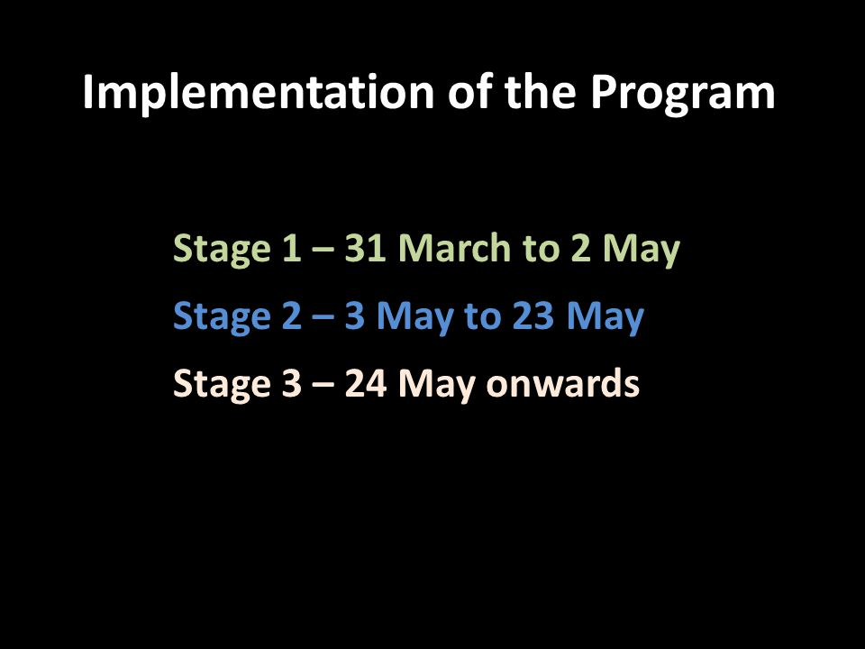 Implementation of the Program