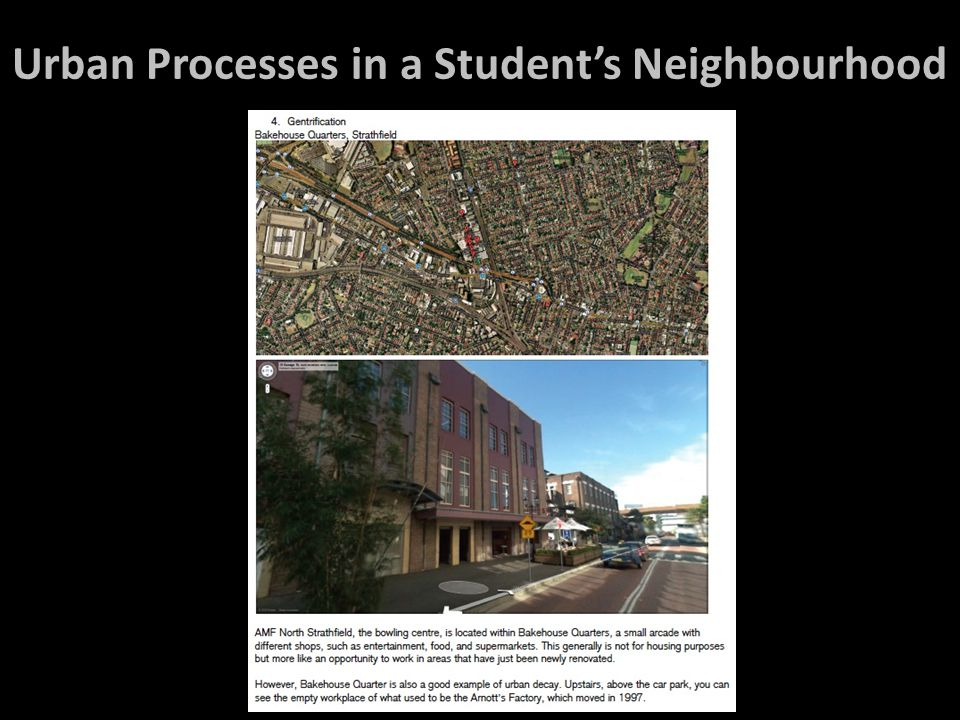 Urban Processes in a Student's Neighbourhood