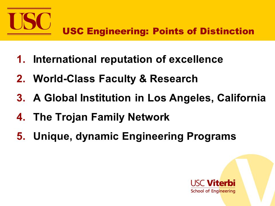 USC Engineering: Points of Distinction
