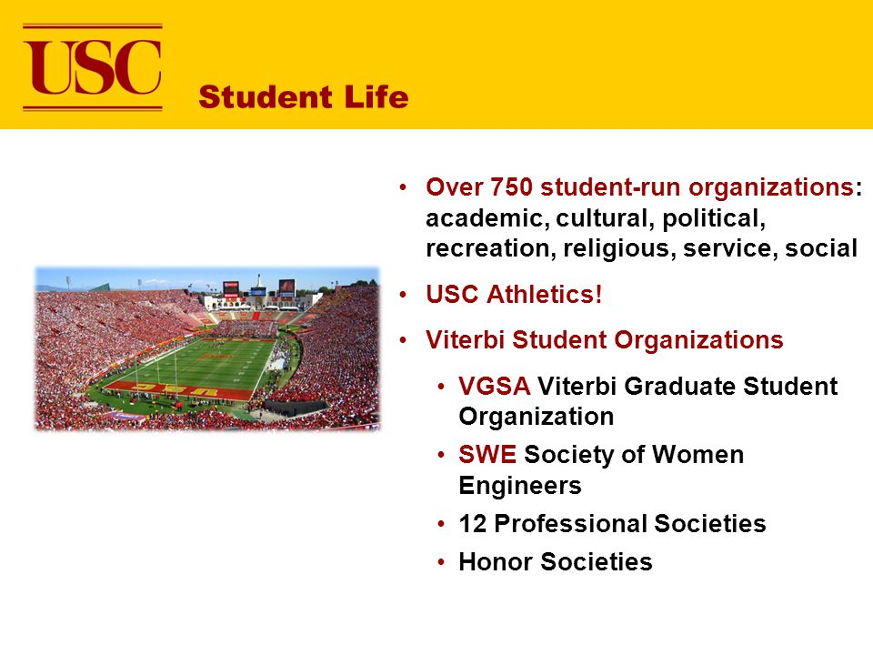 Student Life Over 750 student-run organizations: academic, cultural, political, recreation, religious, service, social.