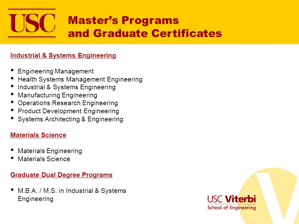 Master's Programs and Graduate Certificates