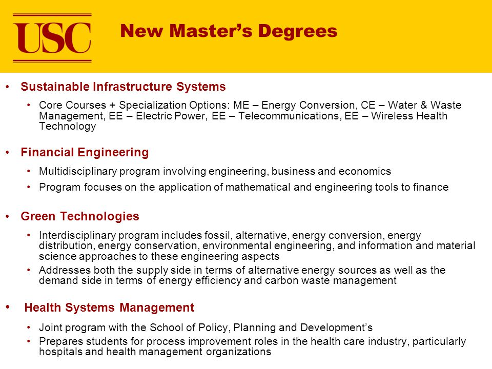 New Master's Degrees Health Systems Management