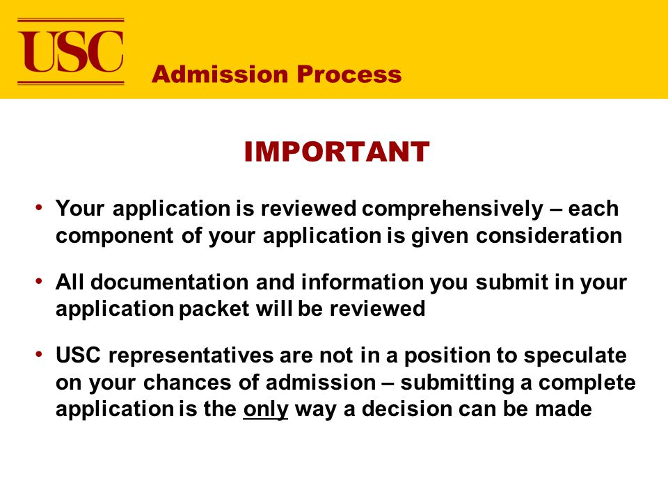 IMPORTANT Admission Process