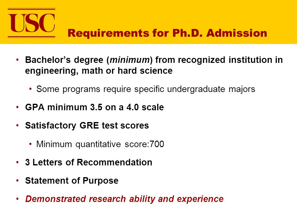 Requirements for Ph.D. Admission