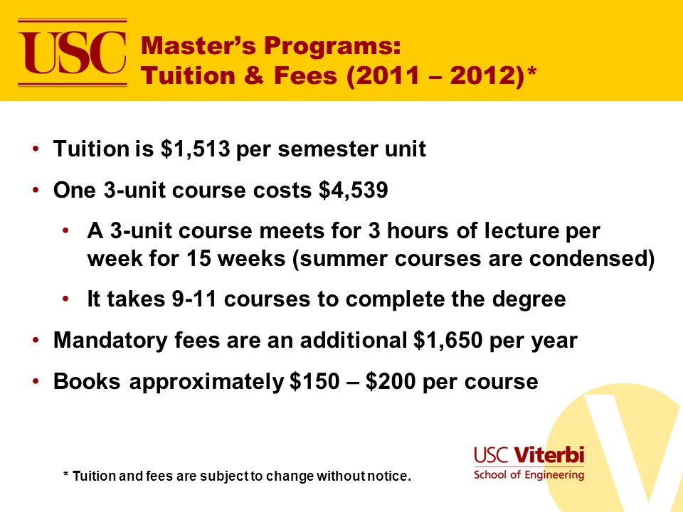 Master's Programs: Tuition & Fees (2011 – 2012)*