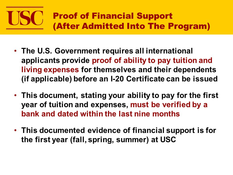 Proof of Financial Support (After Admitted Into The Program)