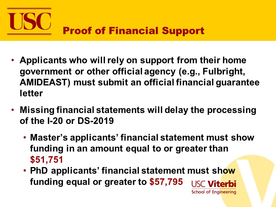 Proof of Financial Support