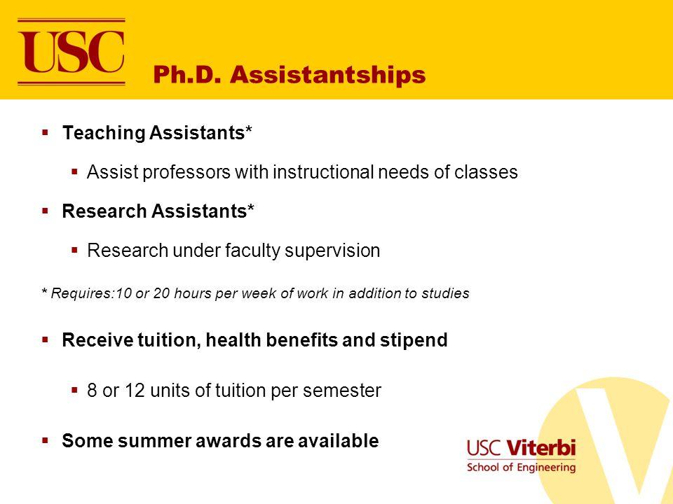 Ph.D. Assistantships Teaching Assistants*