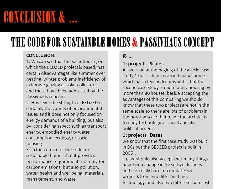 CONCLUSION & … THE CODE FOR SUSTAINBLE HOMES & PASSIVHAUS CONCEPT & …