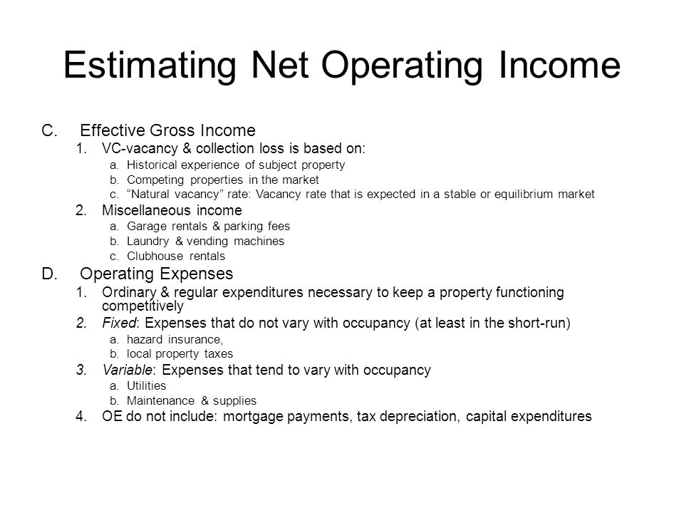 Estimating Net Operating Income