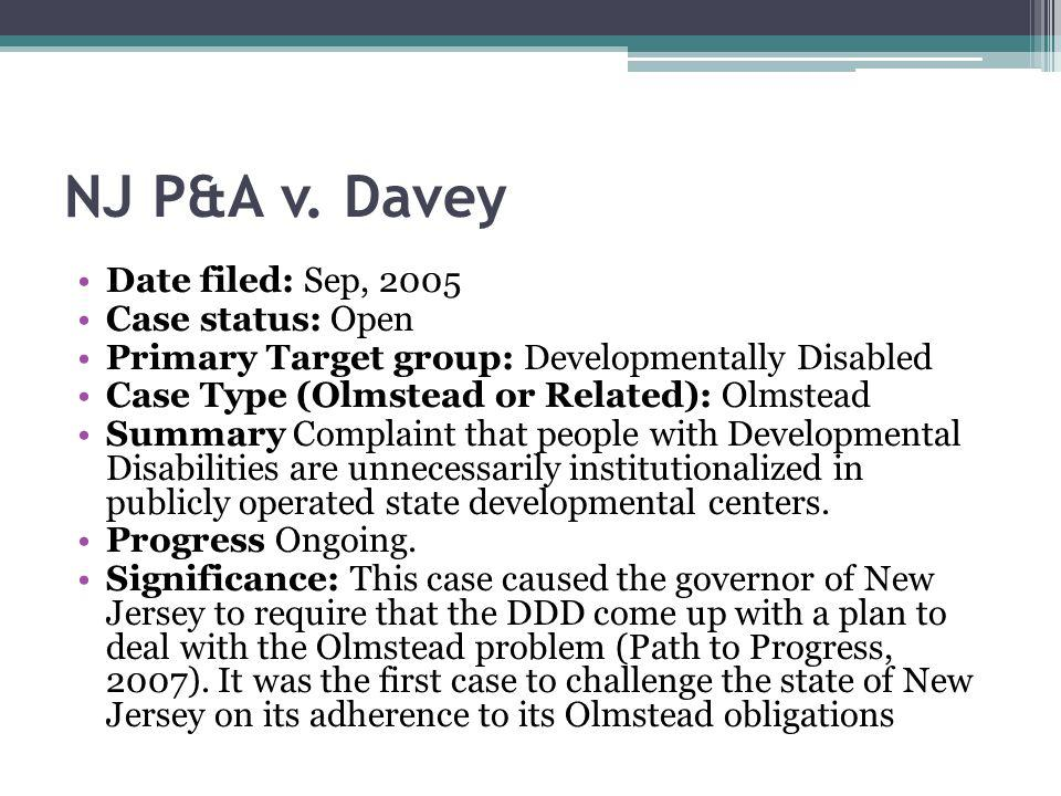NJ P&A v. Davey Date filed: Sep, 2005 Case status: Open