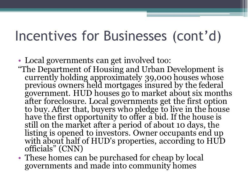 Incentives for Businesses (cont'd)
