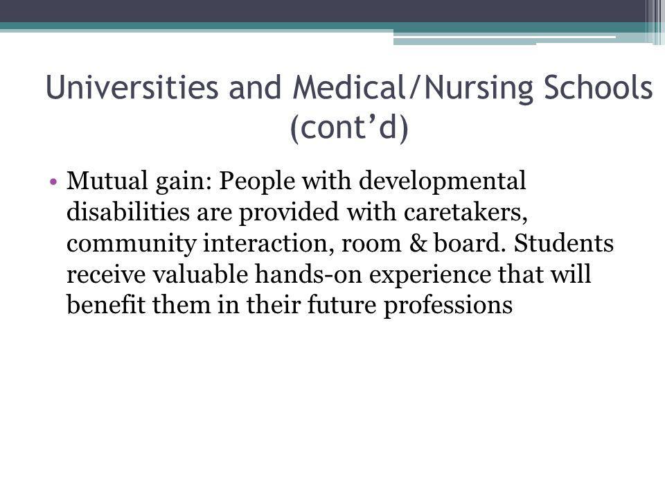 Universities and Medical/Nursing Schools (cont'd)