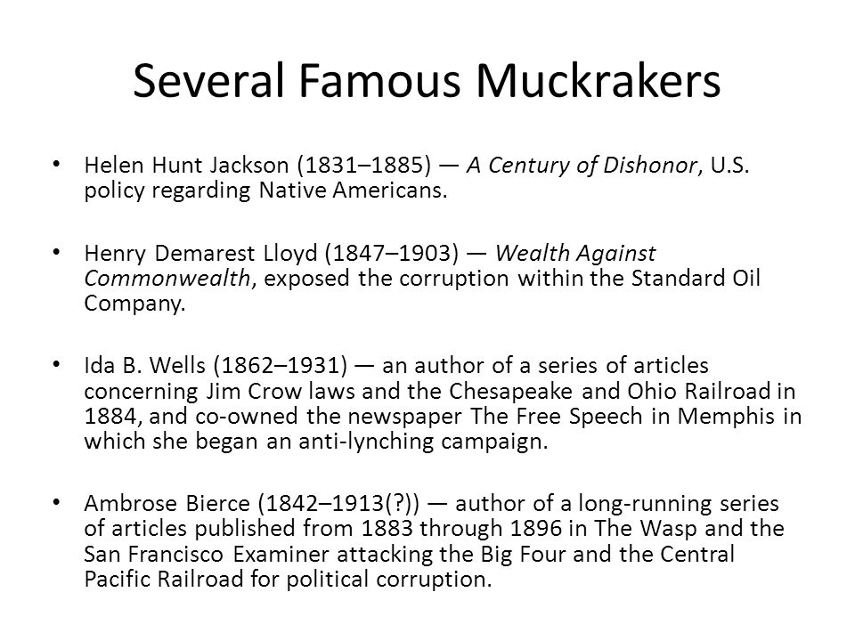 Several Famous Muckrakers