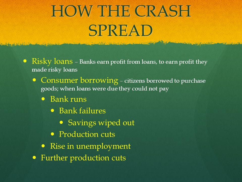 HOW THE CRASH SPREAD Risky loans – Banks earn profit from loans, to earn profit they made risky loans.