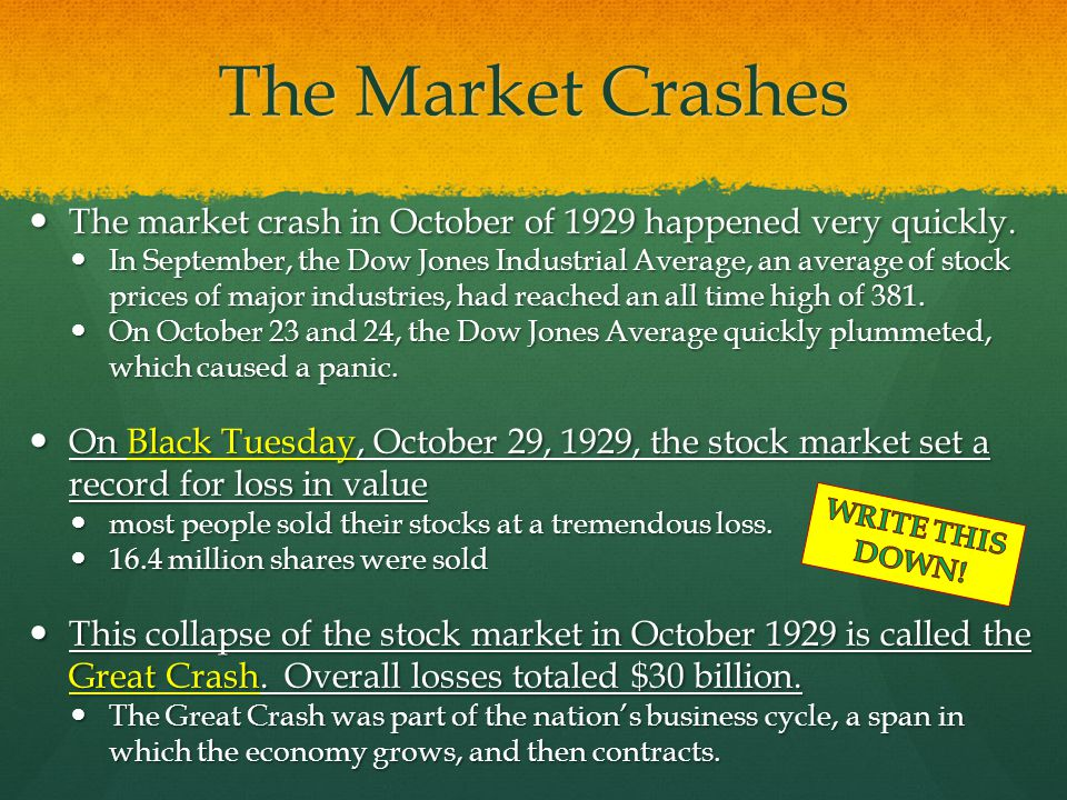 The Market Crashes The market crash in October of 1929 happened very quickly.