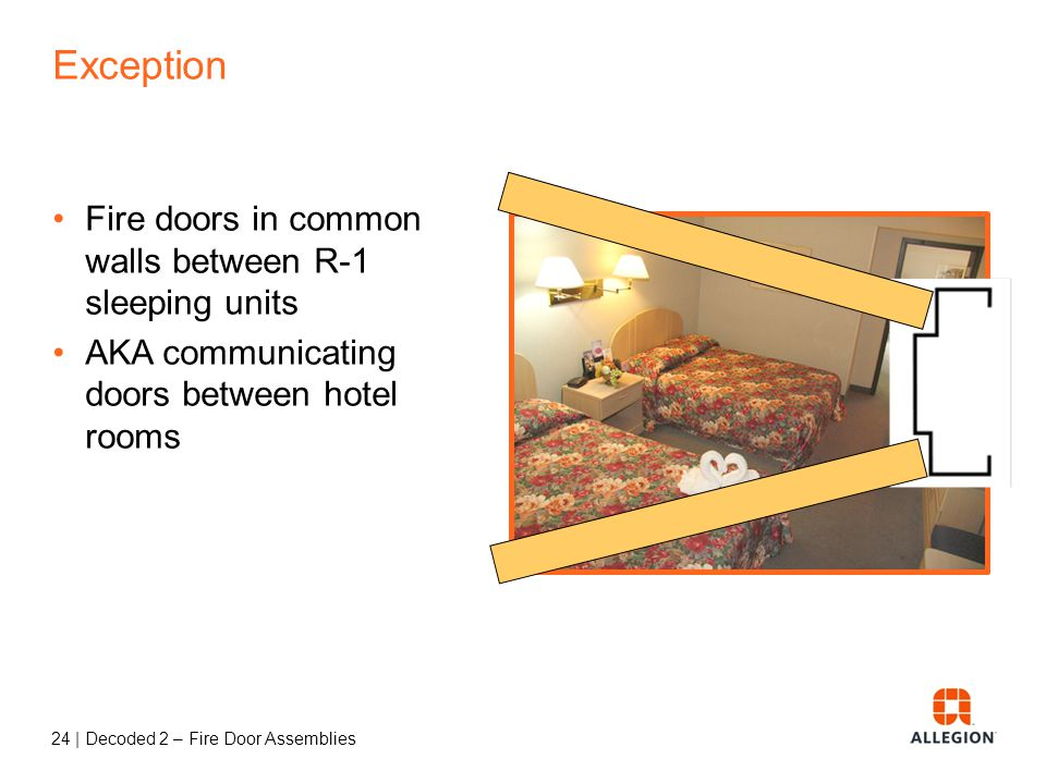 Exception Fire doors in common walls between R-1 sleeping units