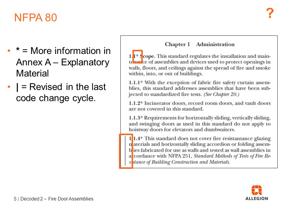 NFPA 80 * = More information in Annex A – Explanatory Material