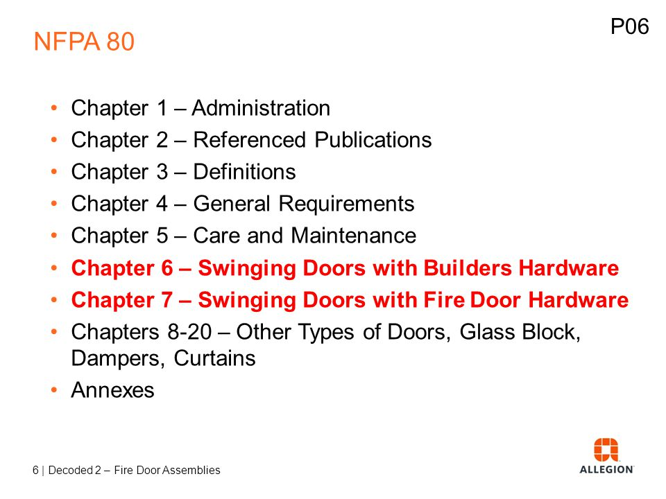 NFPA 80 P06 Chapter 1 – Administration