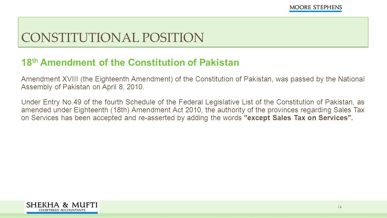 CONSTITUTIONAL POSITION