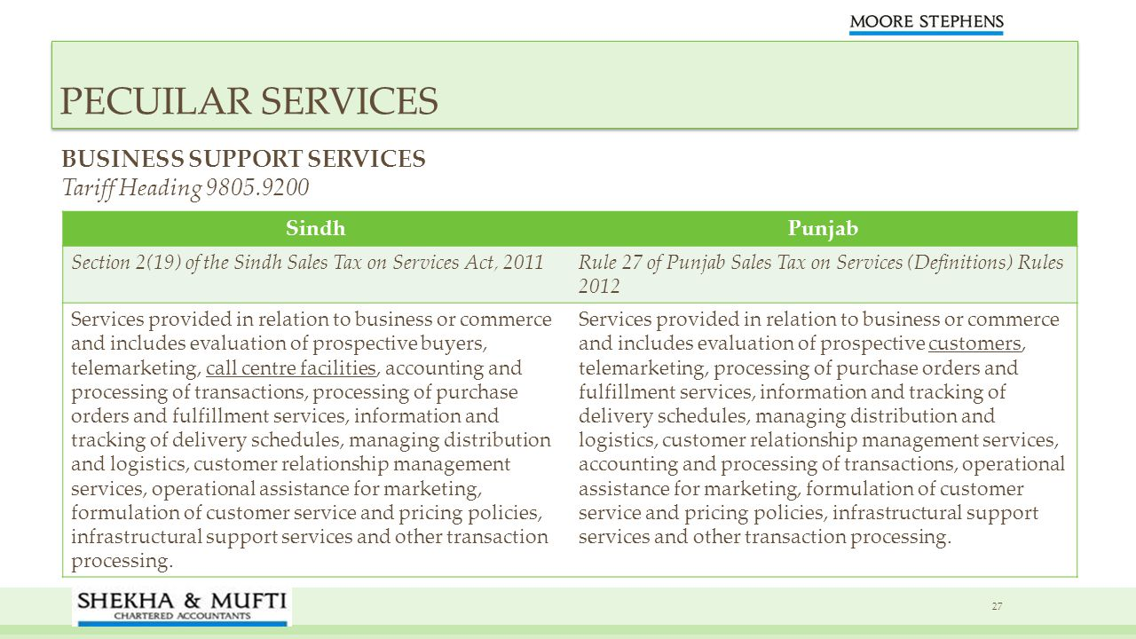PECUILAR SERVICES BUSINESS SUPPORT SERVICES Tariff Heading 9805.9200