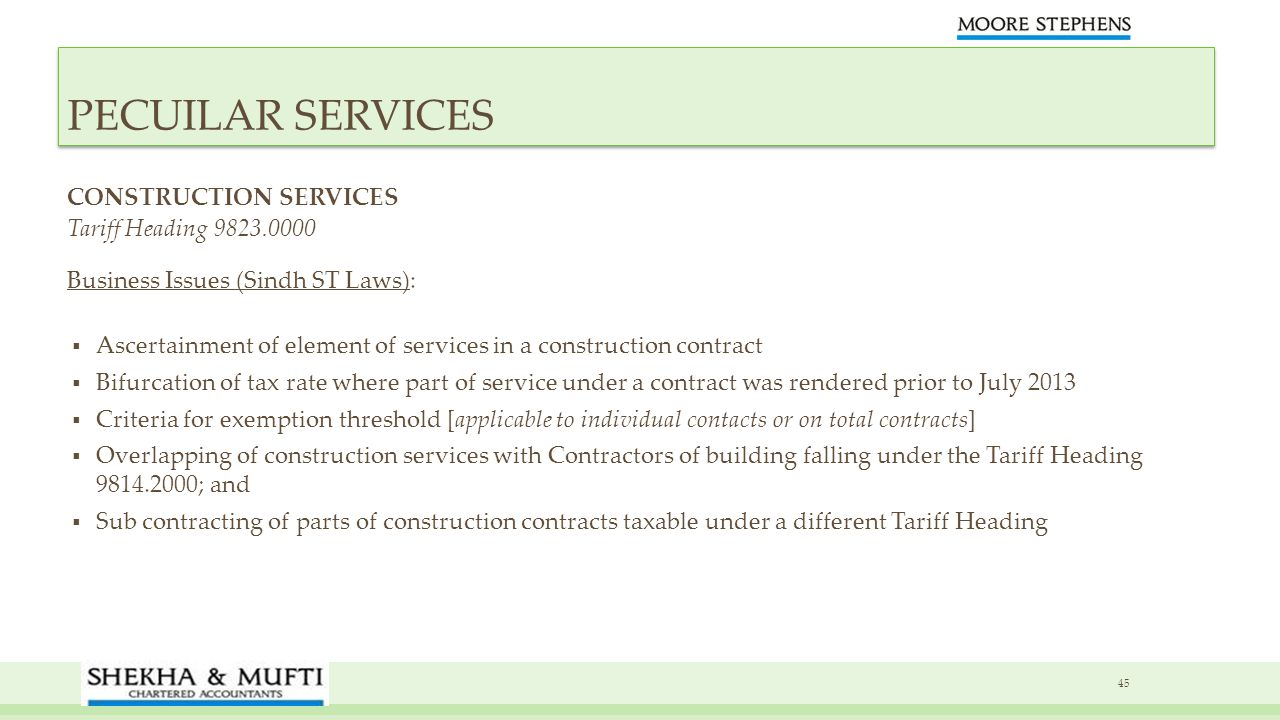 PECUILAR SERVICES CONSTRUCTION SERVICES Tariff Heading 9823.0000