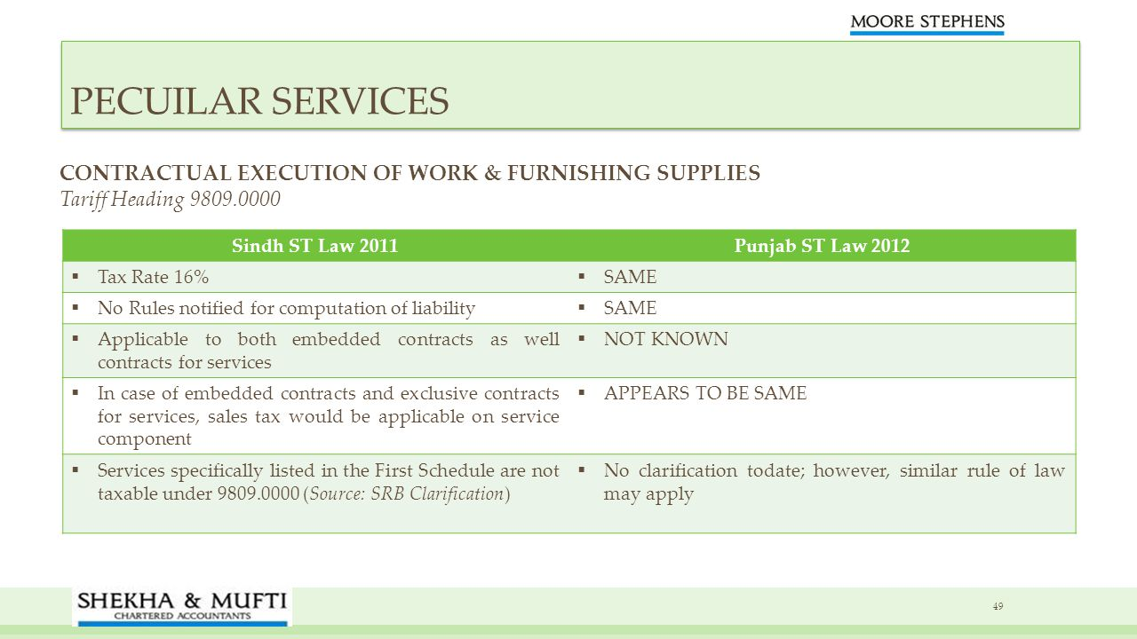 PECUILAR SERVICES CONTRACTUAL EXECUTION OF WORK & FURNISHING SUPPLIES Tariff Heading 9809.0000 Sindh ST Law 2011.