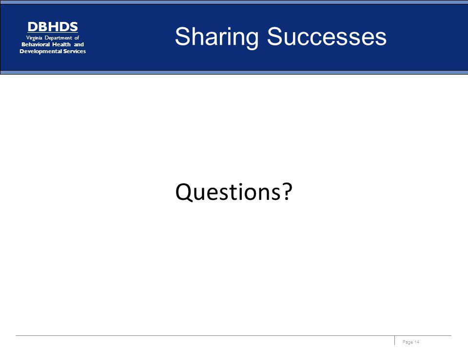 Sharing Successes Questions