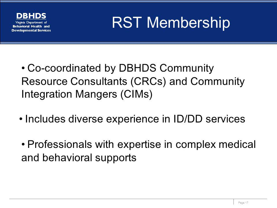 RST Membership Co-coordinated by DBHDS Community Resource Consultants (CRCs) and Community Integration Mangers (CIMs)