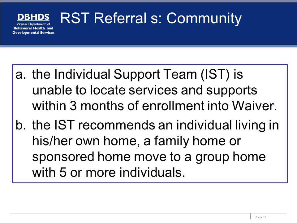 RST Referral s: Community