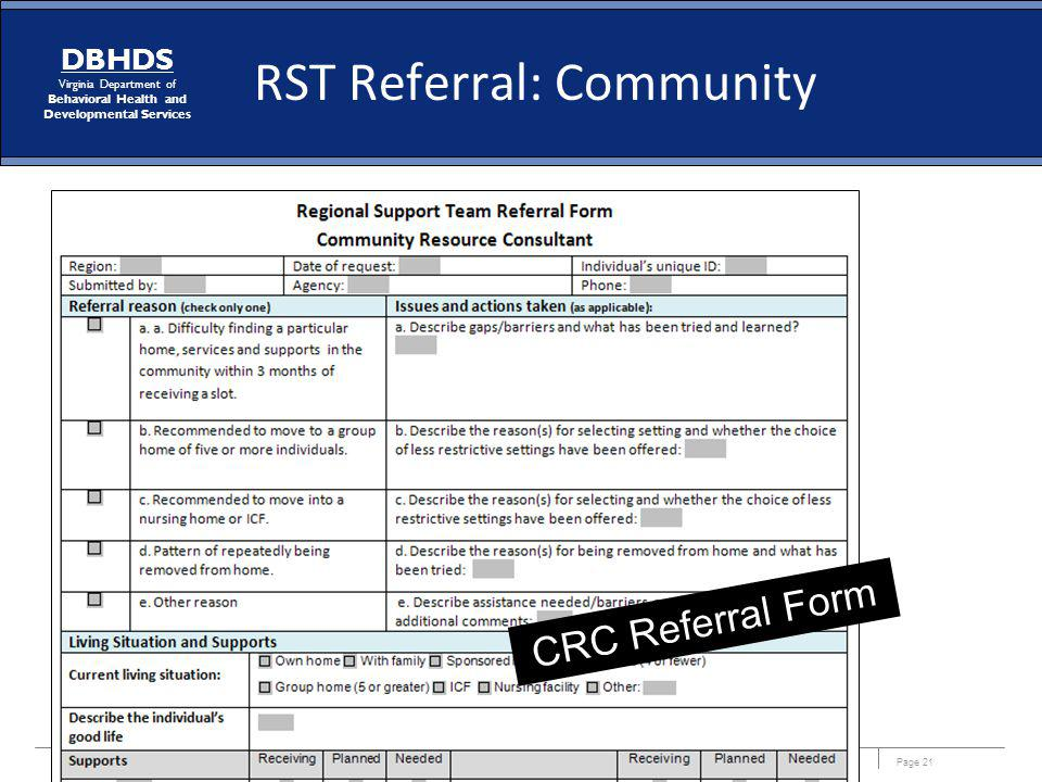 RST Referral: Community