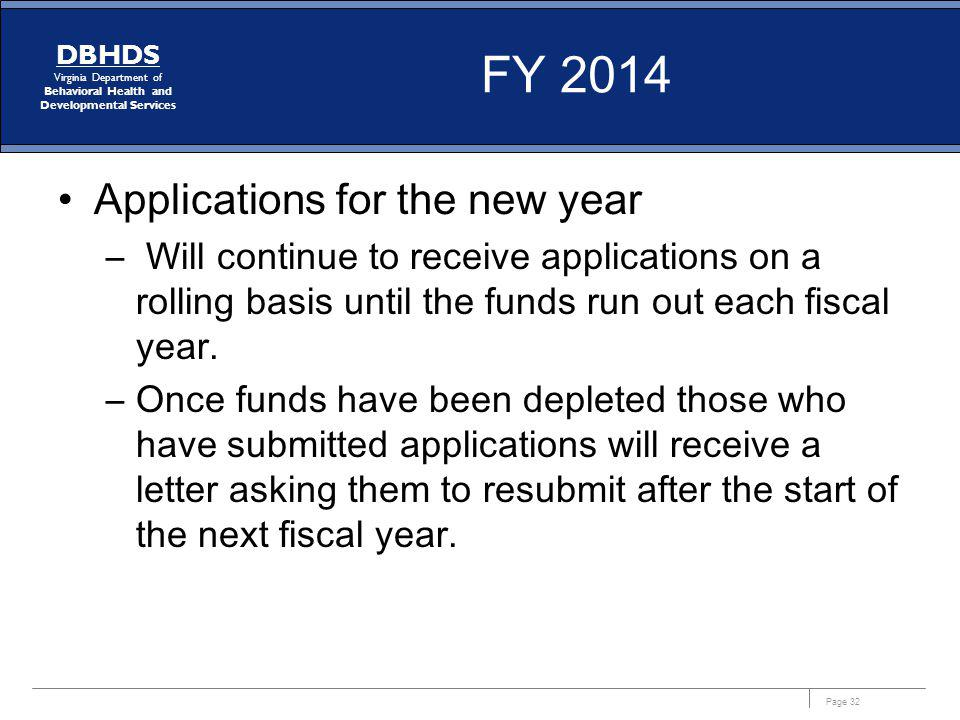 FY 2014 Applications for the new year