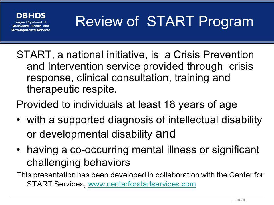 Review of START Program
