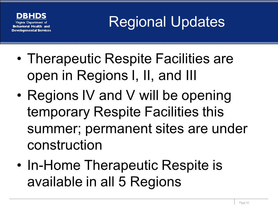 Regional Updates Therapeutic Respite Facilities are open in Regions I, II, and III.